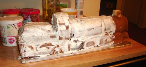 Crumb coated Train Cake